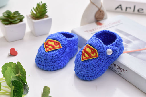 Crochet Knit Baby Infant Happy Boy Super Man Handmade Moccasins - Blue
