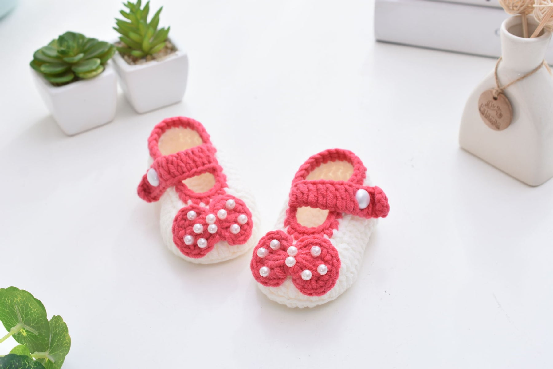 Crochet Knit Baby Infant Happy Girl Pearl Handmade Moccasins - Orange