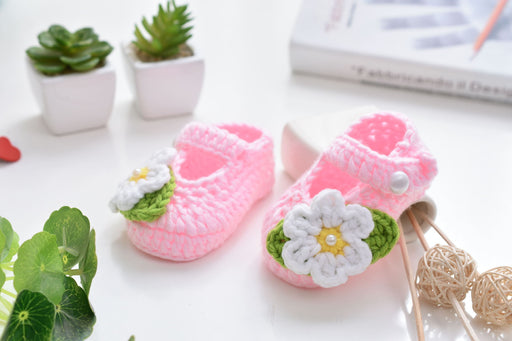 Crochet Knit Baby Infant Happy Girl Flowers Handmade Moccasins - Pink