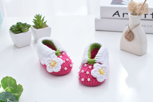 Crochet Knit Baby Infant Happy Girl Pearl Handmade Moccasins - Pink