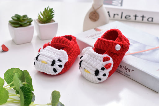 Crochet Knit Baby Infant Happy Girl Hello Kitty Handmade Moccasins - Red