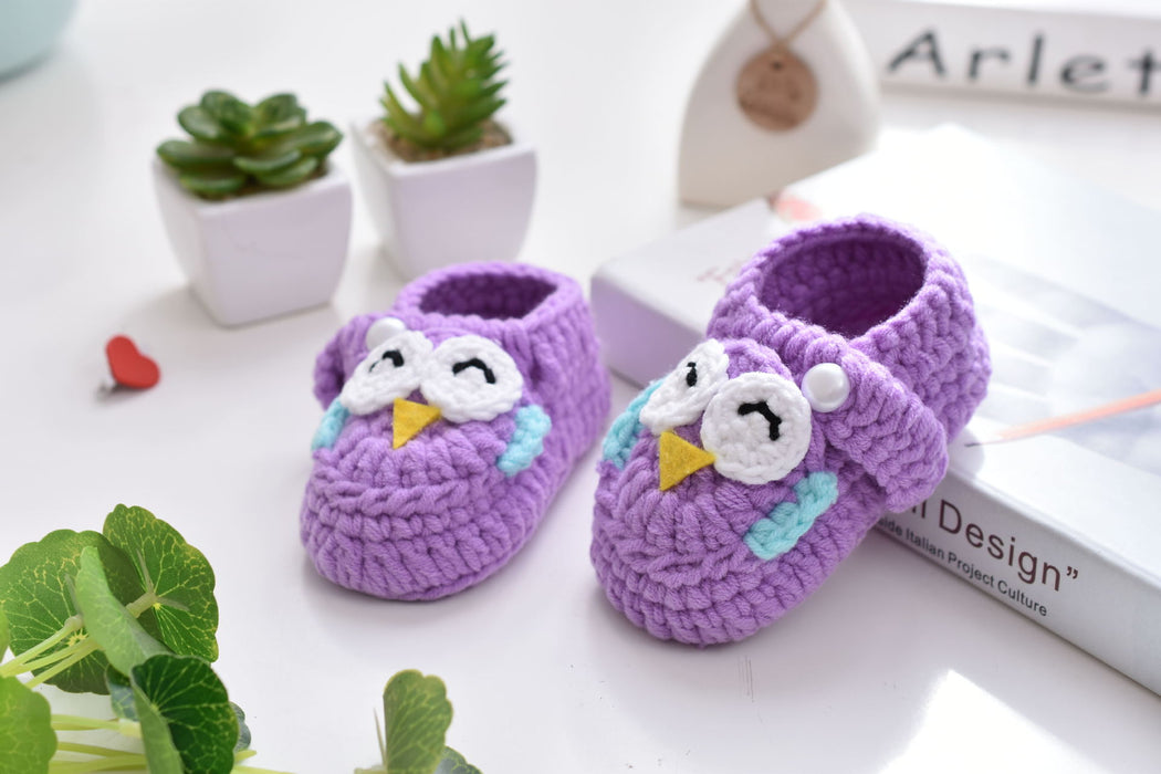Crochet Knit Baby Infant Happy Girl Owl Handmade Moccasins - Purple