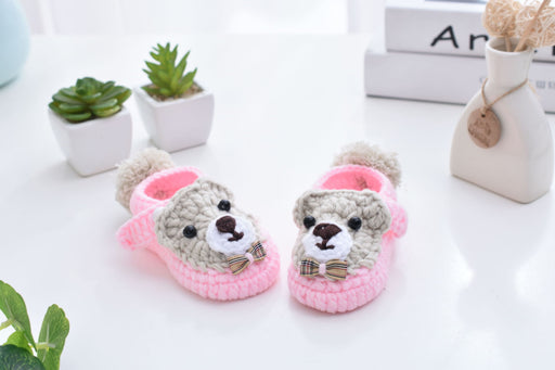 Crochet Knit Baby Infant Happy Girl Lion Handmade Moccasins - Pink