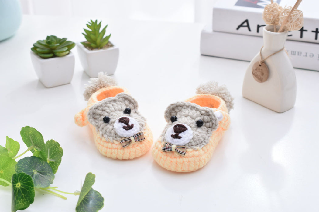 Crochet Knit Baby Infant Happy Girl Lion Handmade Moccasins - Orange
