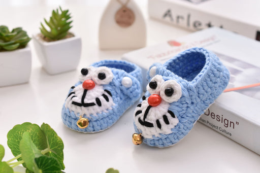 Crochet Knit Baby Infant Happy Boy Panda Handmade Moccasins - Blue