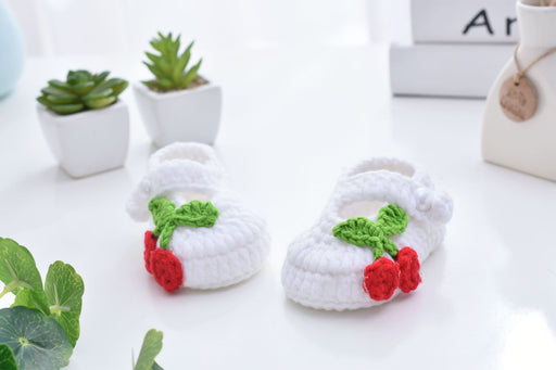 Crochet Knit Baby Infant Happy Girl Berry Handmade Moccasins - Orange