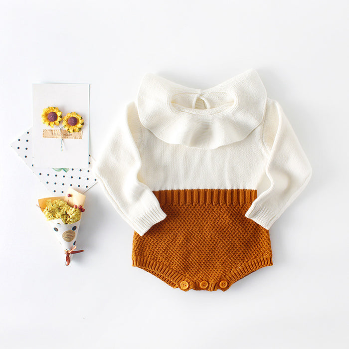 Baby Girl Baby Collar Knitting Wool Jumpsuit