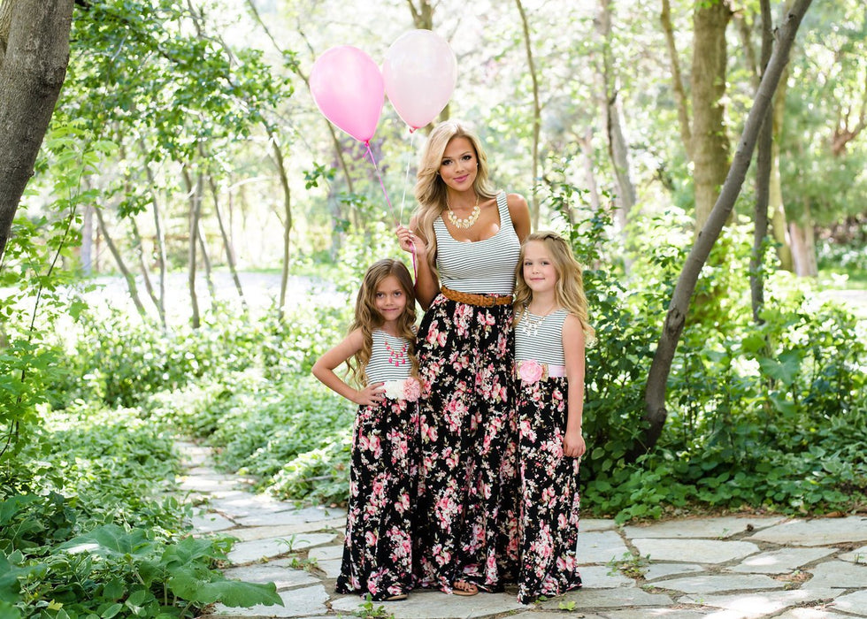 Mommy And Daughter Dresses - Stripe Mosaic