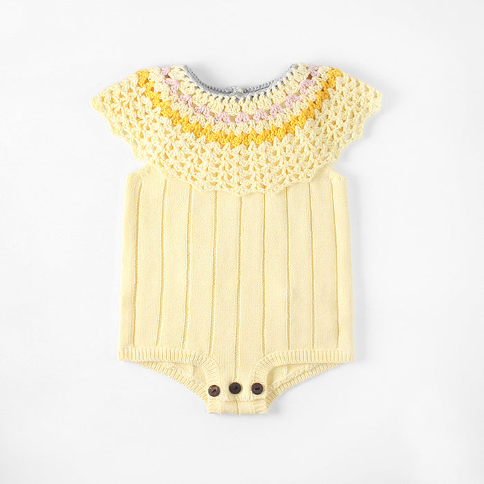 Baby Handmade Hollowed-out Crocheted Large Lotus Collar kKnitting Jumpsuit