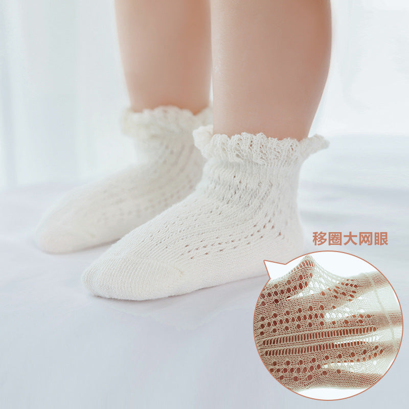 Large Mesh Breathable Non-Slip Toddler Knit Socks