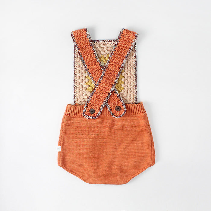 Baby Cross Strap Knitted Wool Jumpsuit