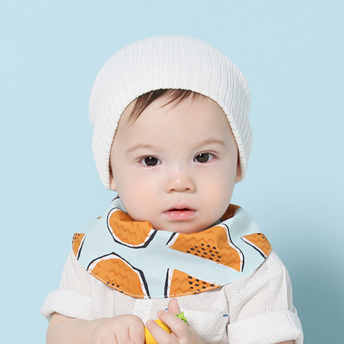 Solid-color Striped Knitted Hat Baby Autumn Winter Warm Cover Cap In 8 Colors