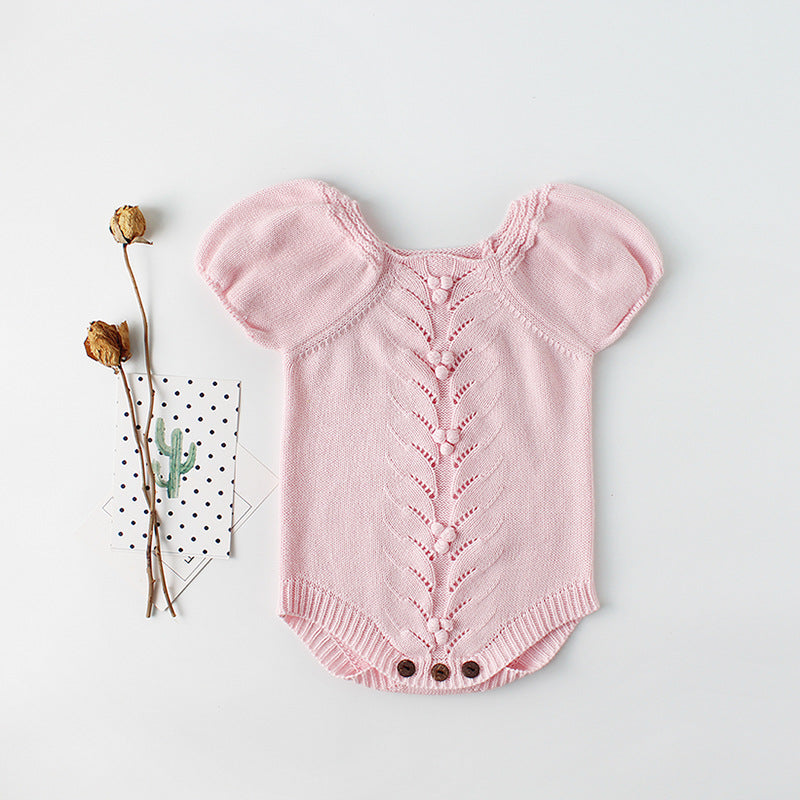 Bubble Sleeve Baby Knitting Wool Jumpsuit
