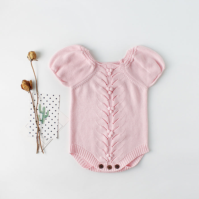 Puff sleeve baby baby knitted Wool Jumpsuit