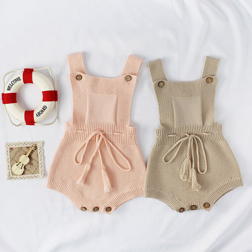 Baby Knitting Jumpsuit With Tassel Straps