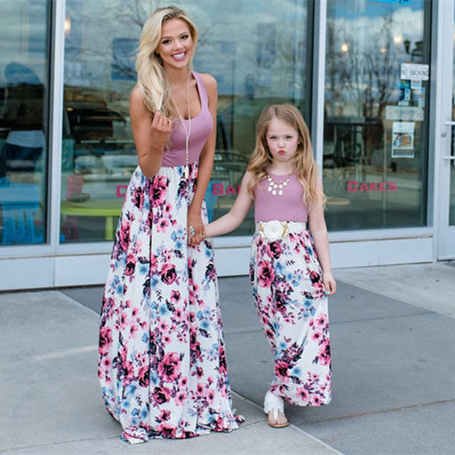 Mommy And Daughter Dresses - Floral print joint