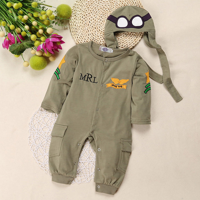 Boy Pilot Long Sleeve Jumpsuit + Hat Army Green Robe