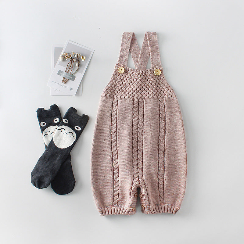 Baby Knit Wool Jumpsuit With Embroider Strap