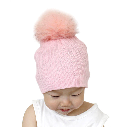 Baby Wool inter Big Ball Fox Wool Knit Hat