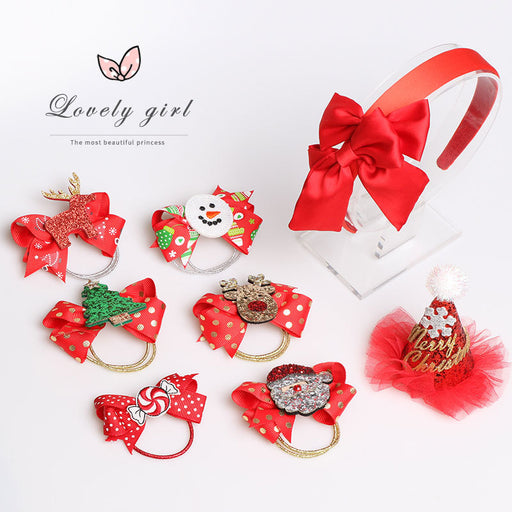 Girl baby bow hair band elk christmas hair clip children's ponytail hair rope small rubber band
