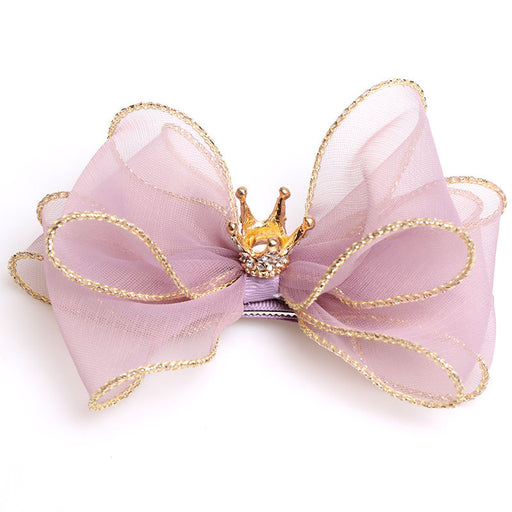 Three-layer three-dimensional European root yarn bow hairpin children's crown top clip hair accessories black yellow pink hairpin