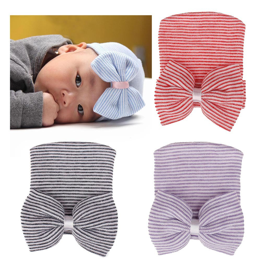 Knitted Big Bow Baby Hat