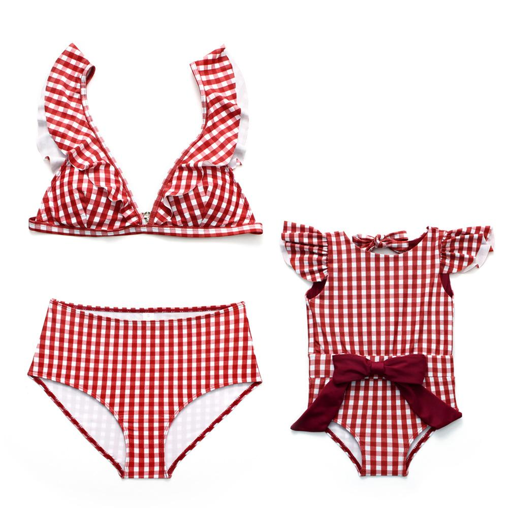 Mommy And Daughter Swimwear -  plaid bikinii