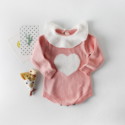 Baby Baby Collar Love Knitting Jumpsuit