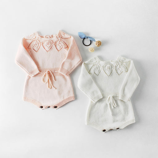 Baby Girl Leaf Cotton Knitted Jumpsuit