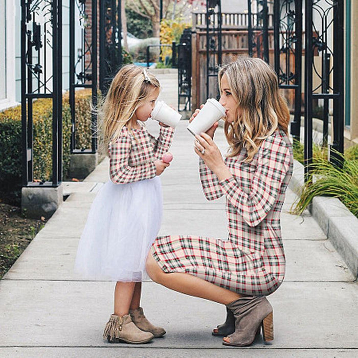 Mommy And Daughter Dresses - Colored checks