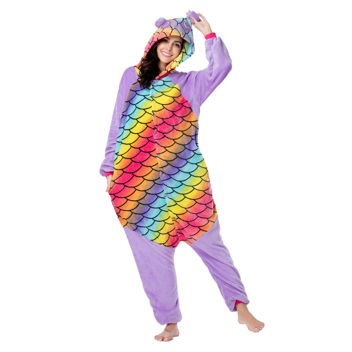 Funny Funny Animal Pajamas For Female Purple Mermaid Retro Adult Onesie