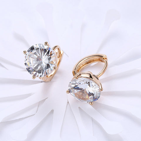 Swarovski Crystals 10mm Diamond Created Huggie  Earring - QucikShopee