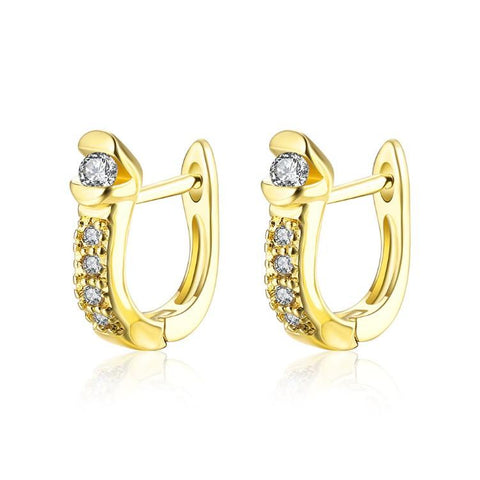 Golden NYC 18K Gold Plated Huggies Earring-2 Face Pave Stone - QucikShopee