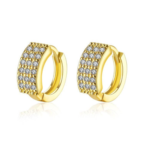 18K Gold Plated Huggies Earring-Triple Row Pave' - QucikShopee