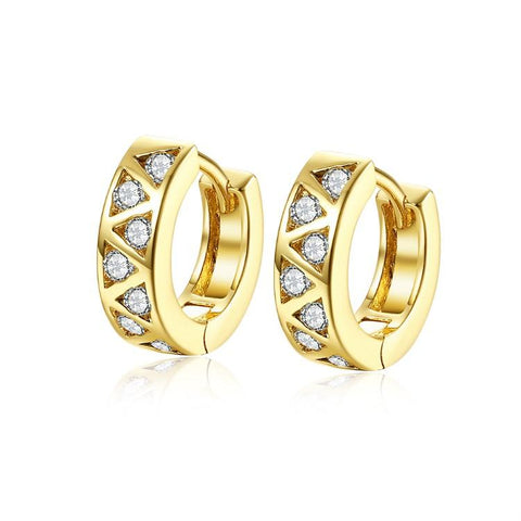 Golden NYC 18K Gold Plated Triangle Design Stones Earring - QucikShopee