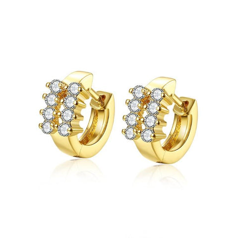 Golden NYC 18K Gold Plated 6 Stone Huggie Earring - QucikShopee