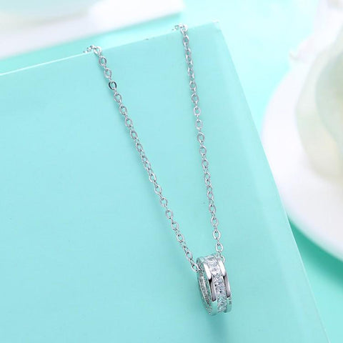 Swarovski Crystal 18K White Gold over Sterling Silver Pave Drop Necklace - QucikShopee