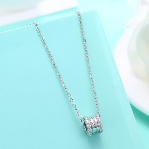 Swarovski Crystal 18K White Gold over Sterling Silver Pave Edges Necklace - QucikShopee