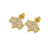Iced Out Screwback 18K Gold Filled Square Cut Earring - QucikShopee