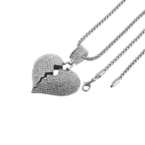 Iced Out Broken Heart Necklace in 18K White Gold Filled with Chain - QucikShopee