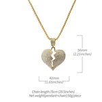 Iced Out Broken Heart Necklace in 18K Gold Filled with Chain - QucikShopee