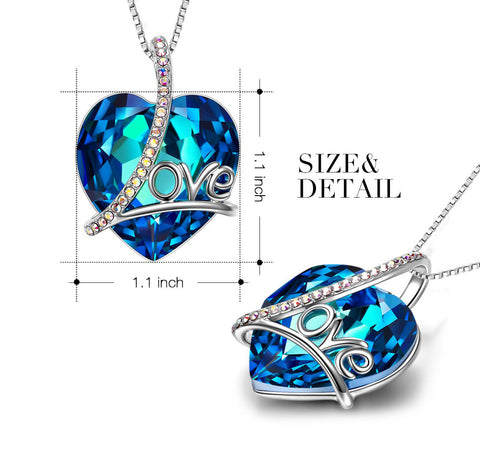 Swarovski Crystals 5.00 Ct Bermuda Blue LOVE with AB Stones  Necklace - QucikShopee
