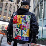 Men Streetwear Graffiti Appliques printed Jeans Jacket - QucikShopee