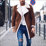 Faux Fur Fleece Faux Leather Jacket Men Winter Brown Suede Jacket Warm Bomber Long Coats Male Outwear Thicken Jacket  Plus Size - QucikShopee