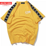 Aelfric Eden Hip Hop T Shirt Men Ribbon Printed Short Sleeve Japanese Tshirt - QucikShopee