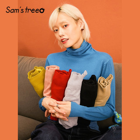 SAM'S TREE Multicolor Solid Minimalist Style Casual Knit Pullover Sweaters Women 2019 Winter Pure Long Sleeve Loose Female Top - QucikShopee