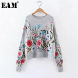 [EAM] 2020 Autumn Winter Round Neck Long Sleeve Flower Embroidered Knitting Warm Loose Sweater Pollovers Women Fashion V74702 - QucikShopee