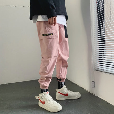 Japanese Streetwear Patchwork Joggers Pants  Mens Hip Hop Color Block Cargo Pants Male Pink Fashions Sweaptpants - QucikShopee