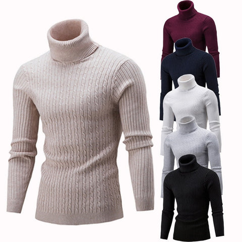 SHUJIN Spring Warm Turtleneck Sweater Men Fashion Solid Knitted Mens Sweaters 2018 Casual Male Double Collar Slim  Pullover - QucikShopee