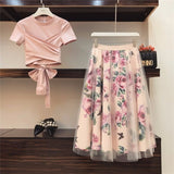 HIGH QUALITY Women Irregular T Shirt+Mesh Skirts Suits Bowknot Solid Tops Vintage Floral Skirt Sets Elegant Woman Two Piece Set - QucikShopee